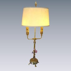 Vintage French Ormolu/Brass French Porcelain Flowers Bouillotte Lamp