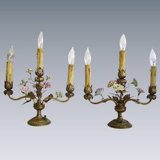 Vintage 1930's French Porcelain Flowers Ormolu/Brass Candelabra Lamps Pr