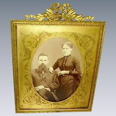 Antique French Dore Bronze Bow Top Picture Frame/Etched Bronze Matting