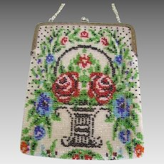 Vintage 1920's Micro Beaded Purse Red Roses/Flower Basket