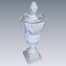 Vintage Alabaster Marble Carved Table Lamp
