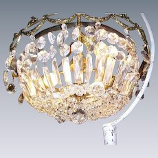 Gorgeous Vintage Bronze Crystal Prisms Basket Shape Ceiling Chandelier Light