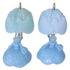 Vintage 1930's Blue Glass Southern Belle Boudoir Lamps Pair