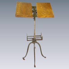 Antique Victorian Library Parlor dictionary Bible Book Stand/Oak and Iron