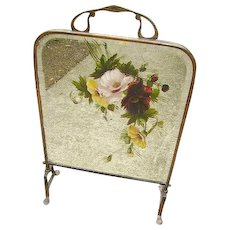 Late 19th c. Victorian Hand Painted Floral Mirror Firescreen