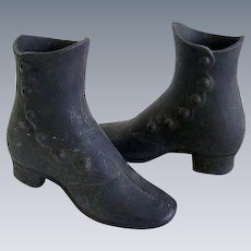 Antique Victorian Child Mannequin Cast Iron High Top Shoes/Boots 1800's