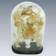 Antique French Victorian Glass Wedding Dome/Silk Flowers Arch/Victorian Oval Glass Dome Display