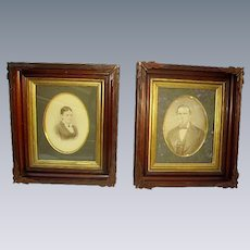 Gorgeous Pair Antique Victorian Walnut Deep Shadowbox Picture Frames/Carved Leaves
