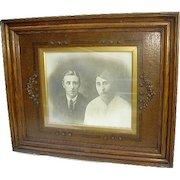 Exquisite Large Antique Victorian/Arts Crafts Oak Wood Picture Frame