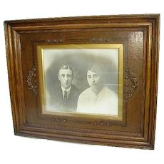 Exquisite Large Antique Victorian/Arts Crafts Oak Wood Picture Frame