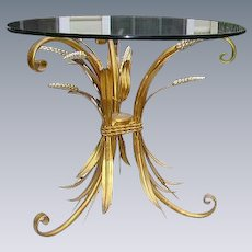 Vintage Italian Tole Gilt Wheat Sheaf Table