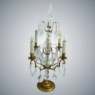 Exquisite French Gold Bronze Girandole Crystal Prisms Candelabra Table Chandelier Light 26""