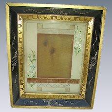 Antique Victorian Eastlake Picture Frame: Original Floral Matting