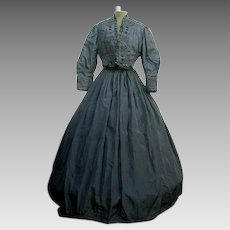 Victorian Mourning Gown/Jacket/Skirt Black Silk Taffeta 1800's
