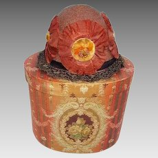 Vintage 1920's Authentic Flapper Girl Hat w/Old Wallpaper Hat Box/Gledhill Wallpaper New York