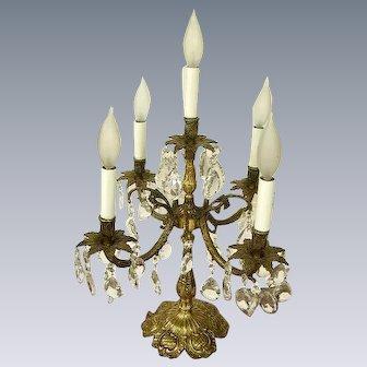 Gorgeous Vintage Large Brass Candelabra Lamp Table Chandelier/Crystal Prisms
