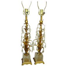 Vintage Italian Tole Crystal Prisms Lamps Pair/Gilt Tole/Glass