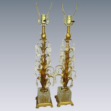 Vintage Italian Tole Crystal Prisms Lamps Pair/Gilt Tole/Glass