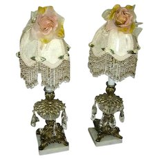 Vintage Candlestick Prism Boudoir Lamps Pair/Marble Bases/Custom Boudoir Shades