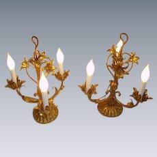 Vintage Italian Tole Gilt Lilies Candelabra Lamps Pair