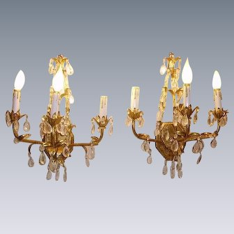 Vintage Italian Tole Gilt Wall Sconce Lights Dripping Crystal Prisms Pair