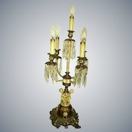 Gorgeous Vintage Metal Cherubs Tall Candelabra Lamp Table Chandelier with Shades