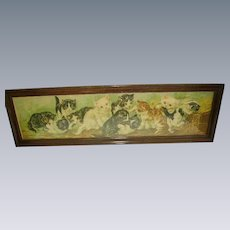 Antique Victorian Cats/ Kittens Yard Long Print in Original Frame c. 1894