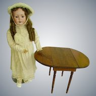 """Early Childs/Doll Drop Leaf Table/Table for Larger Dolls/13"""" Tall"""