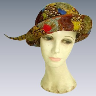 Gorgeous Vintage Feather Hat/Vibrant Color Feathers/by Orcelia's