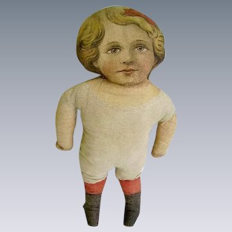 Antique Printed Cloth Doll Dated 1900