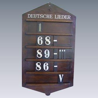 """Antique German Church Hymn Board """"Deutsche Lieder"""" Late 19th c.  46"""""""