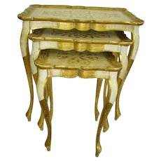 Vintage Italian Florentine Gilt Wood Nesting Tables