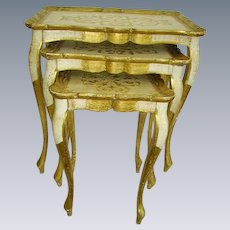 Vintage Italian Florentine Gilt Wood Nesting Tables