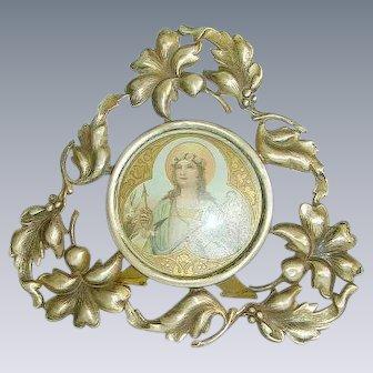 Early Art Nouveau Floral Metal Picture Frame Saint Philomena
