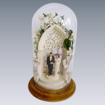 Fabulous Vintage 1930s Wedding Cake Topper in Glass Dome/Brides Tiara