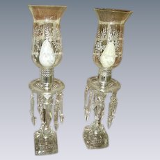 Elegant Vintage Crystal Prisms Glass Hurricane Shades Mantel Lamps Pair