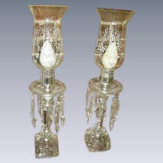 Elegant Vintage Crystal Prisms Glass Hurricane Shades Mantel Lamps Pair