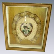 Antique Victorian Valentine Diorama Shadowbox Frame/Celluloid Embellished Ribbon