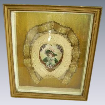 Antique Victorian Valentine Diorama Shadowbox Frame/Celluloid Embellished Ribbon