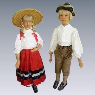 Early 1900's Wax Child Mannequins Lifesize Hansel/Gretel/Gems London