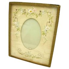 Vintage French Embroidered Flowers Silk Ribbonwork Passementerie Picture Frame 1920's