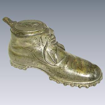 Early Metal Shoe Inkwell/Gamperdon/ German/Swiss Inkwell