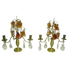Vintage French Girandoles Pair/Amber Grapes/Crystal Prisms/1930's