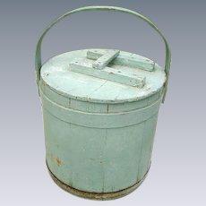 Antique 19th Century Blue Dry Paint Firkin
