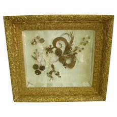 Antique Victorian Mourning Hair in Gesso Shadowbox Frame