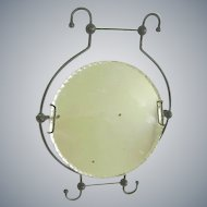 Early 1900 Shaving Mirror Easel Stand/Crimped Glass Mirror