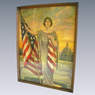 Early 1900 Lady Liberty with Flag Litho Print in Old Frame/Patriotic