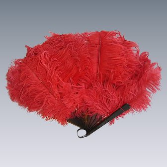 Reserved for S. -Vintage 1920s Hand Fan Signed Eisemann/Fuschia Ostrich Plumes/Flapper Girl Fan