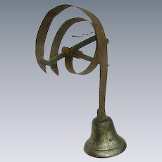 Antique Victorian 1800's Bronze Servants Bell/Hand Forged Spike/Mercantile Store