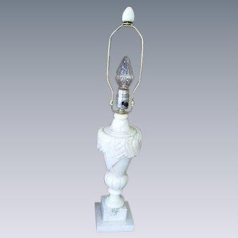 Vintage Italian Alabaster Marble Carved Table Lamp